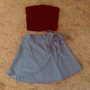 Lulus denim wrap skirt